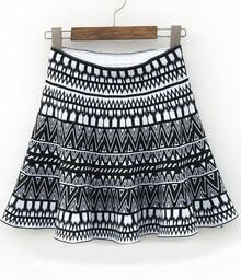 Black White Geometric Print Pleated Skirt