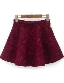 Wine Red Elastic Waist Embroidered Pleated Skirt