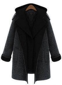 Grey Removable Hooded Long Sleeve Pockets Coat