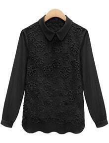 Black Lapel Long Sleeve Lace Chiffon Blouse