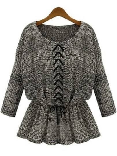 Grey Long Sleeve Drawstring Knit Sweater