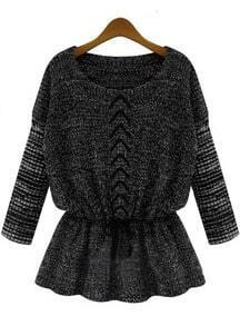 Dark Grey Long Sleeve Drawstring Knit Sweater