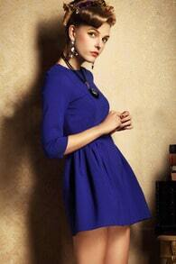 Blue Three Quarter Length Sleeve Flare Dress