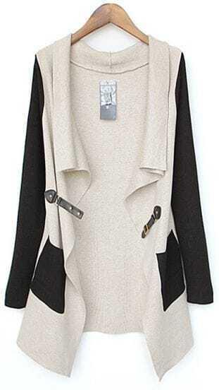 Beige Contrast Black Sleeve Asmmetrical Pocket Cardigan