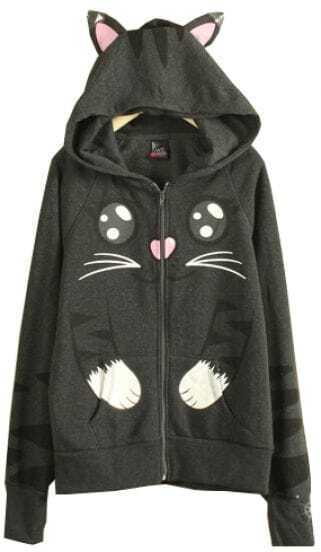Dark Grey Long Sleeve Hooded Cat Pattern Sweatshirt