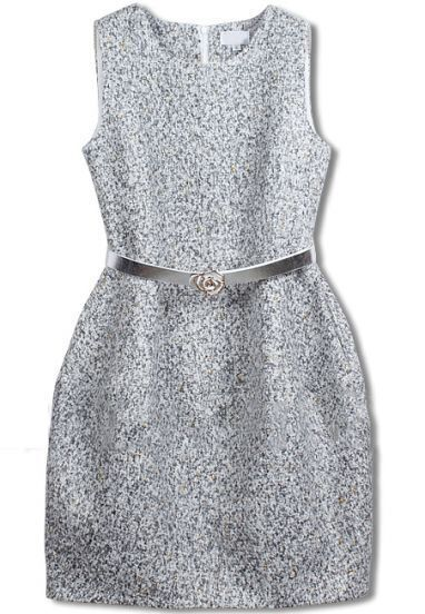 Grey Sleeveless Belt Tweed Pockets Dress