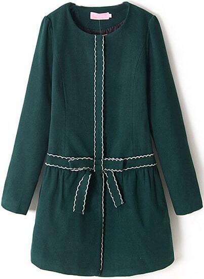 Dark green long sleeve zigzag embroidered dress shein