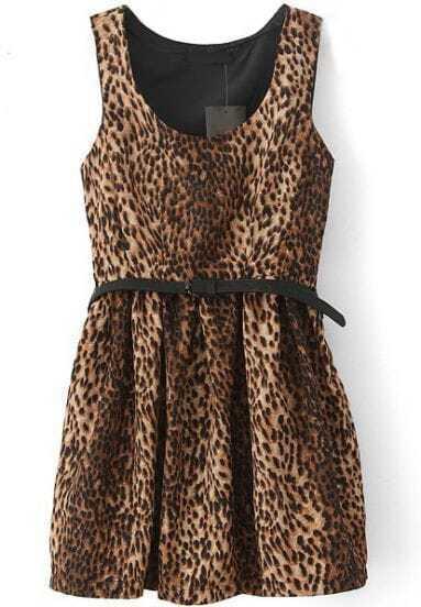 Vestido plisado cuello redondo sin manga-Leopardo