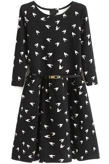 Black Long Sleeve Birds Print Pleated Dress