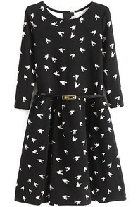 Black Long Sleeve Birds Print Pleated Dress