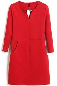 Red V Neck Long Sleeve Split Bodycon Dress