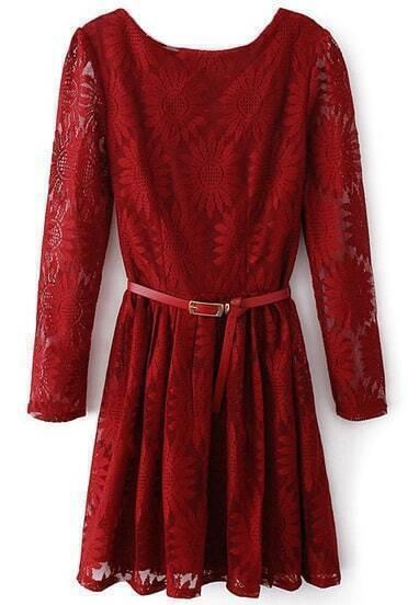 Wine Red Zipper V-back Sunflower Lace Skater Dress