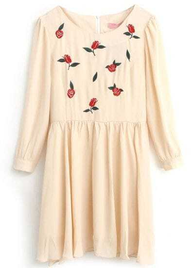 Beige Long Sleeve Rose Embroidered Pleated Dress