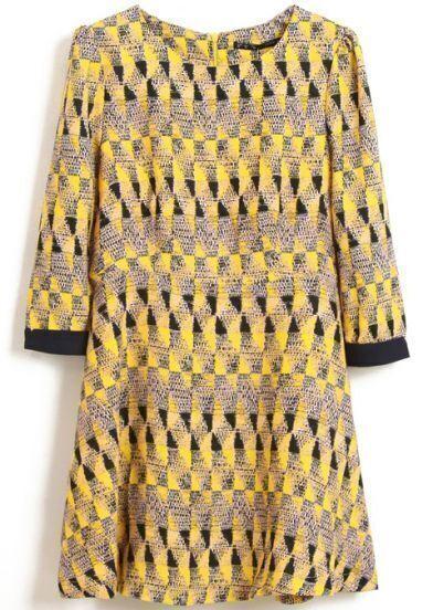 Yellow Long Sleeve Geometric Print Slim Dress