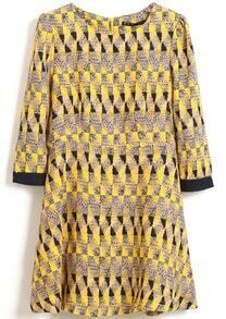 Yellow Long Sleeve Geometric Print Slim Dress
