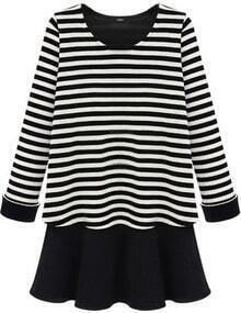 Black White Striped Long Sleeve Ruffles Dress