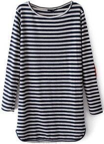 Blue Long Sleeve Striped Straight Dress