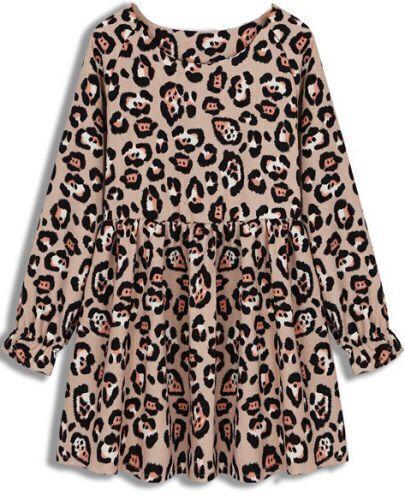 Apricot Long Sleeve Leopard Pleated Dress