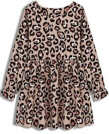 Apricot Long Sleeve Leopard Pleated Dress
