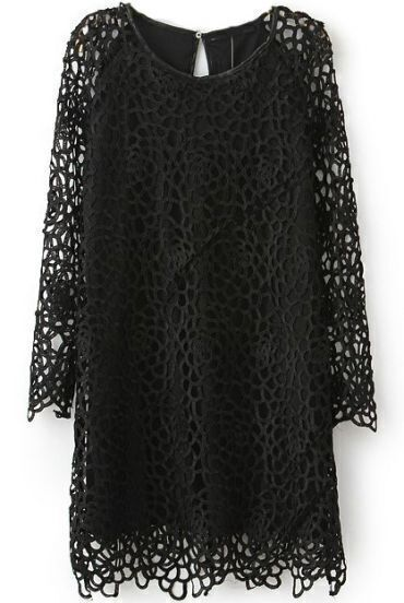 Black Long Sleeve Hollow Lace Dress