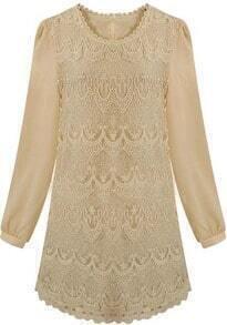 Beige Long Sleeve Floral Lace Belt Shift Dress