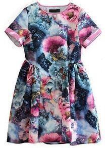 Blue Short Sleeve Floral Flare Dress