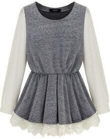 Grey Contrast Long Sleeve Lace Princess Dress