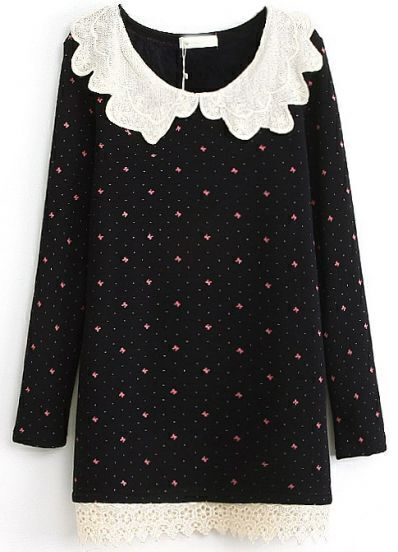 Black Contrast Lace Collar Bow Print Dress