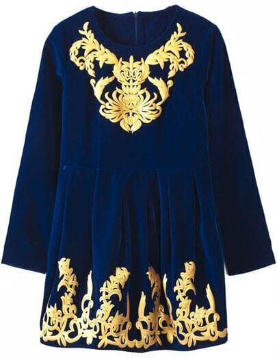 Blue Long Sleeve Metallic Yoke Embroidered Dress