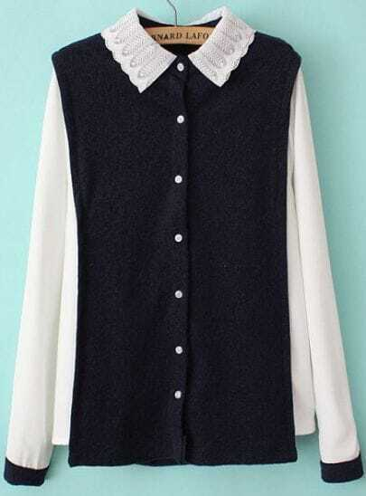 Navy Contrast Lapel Long Sleeve Buttons Blouse