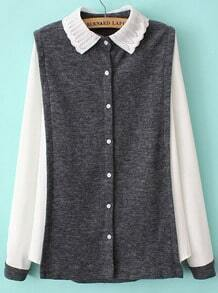 Grey Contrast Lapel Long Sleeve Buttons Blouse