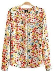 Yellow Round Neck Long Sleeve Floral Blouse