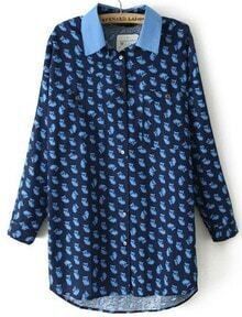 Blue Lapel Long Sleeve Owl Print Blouse