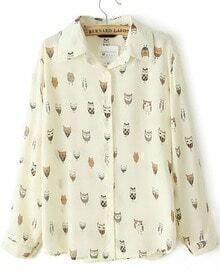 Beige Long Sleeve Owl Print Blouse