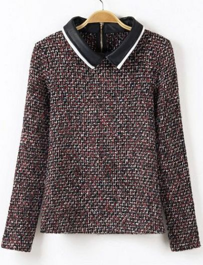 Red Contrast PU Leather Lapel Tweed Blouse