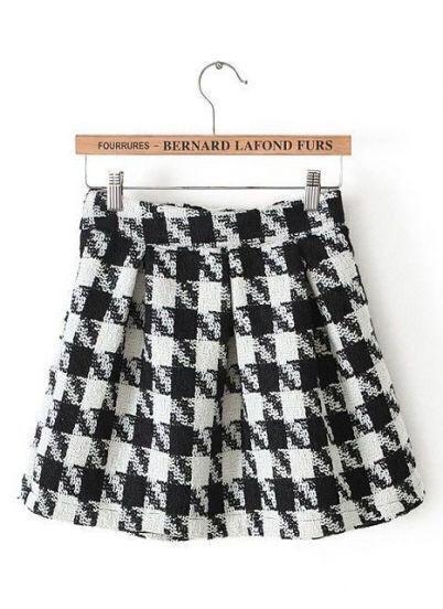 Black White Houndstooth Pleated Skirt