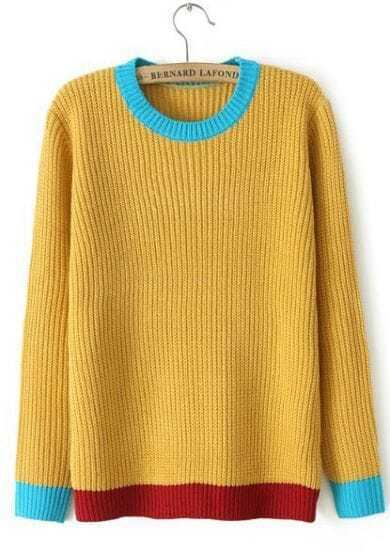 Yellow Long Sleeve Contrast Trims Knit Sweater