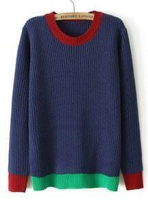 Blue Long Sleeve Contrast Trims Knit Sweater