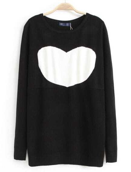 Knitting Pattern Heart Sweater : Black Long Sleeve Heart Pattern Knit Sweater -SheIn(Sheinside)