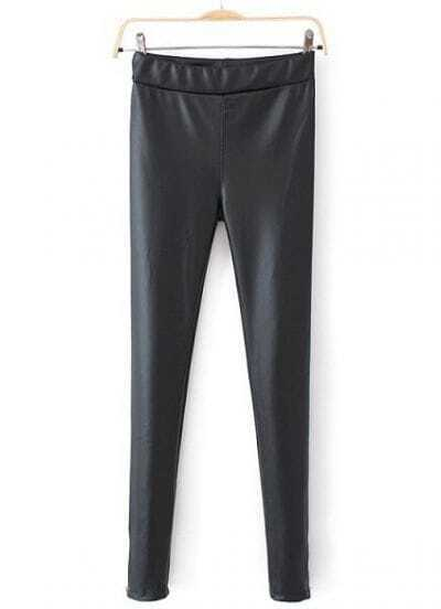 Black Fashion Zipper Leather Leggings