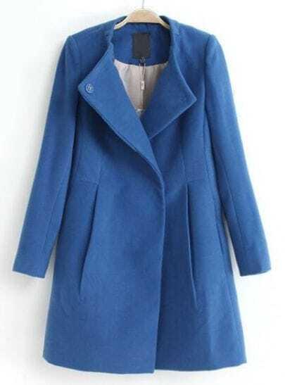 Blue Lapel Long Sleeve Slim Woolen Coat