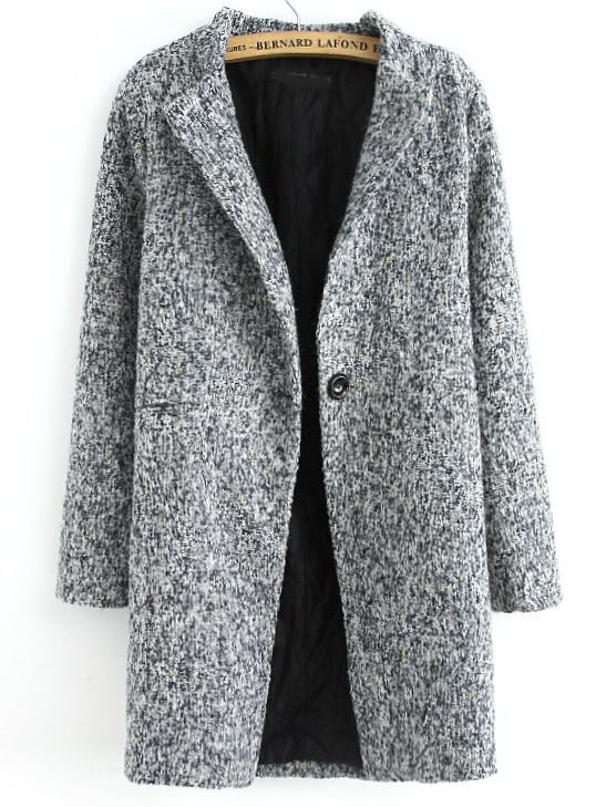 Grey Long Sleeve Single Button Tweed Coat -SheIn(Sheinside)