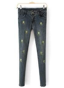 Blue Pockets Skull Embroidered Denim Pant