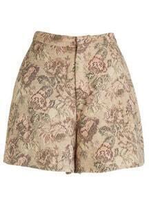 Apricot Vintage Floral A Line Shorts