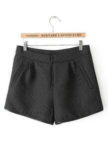 Black Pockets Plaid Straight Shorts