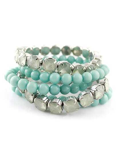 Blue Multilayer Bead Diamond Bracelet