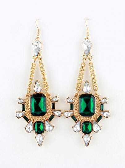 Green Gemstone Gold Diamond Chain Dangle Earrings