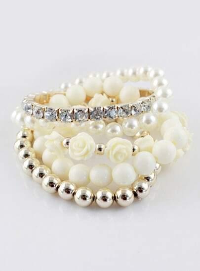 White Gold Multilayer Bead Flower Bracelet