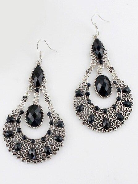 Black Gemstone Retro Silver Hollow Dangle Earrings silver plated bar dangle drop earrings