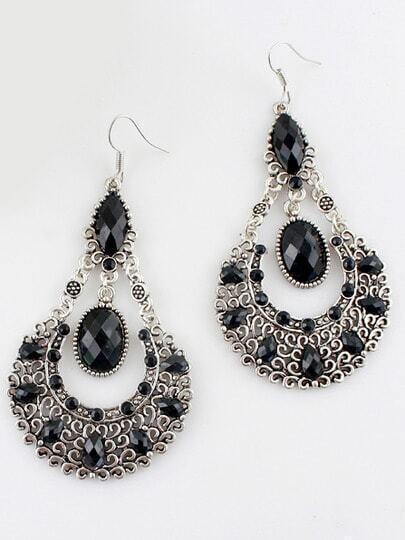 Black Gemstone Retro Silver Hollow Dangle Earrings